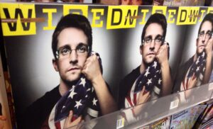 Newsstand with Wired magazine covers featuring Edward Snowden